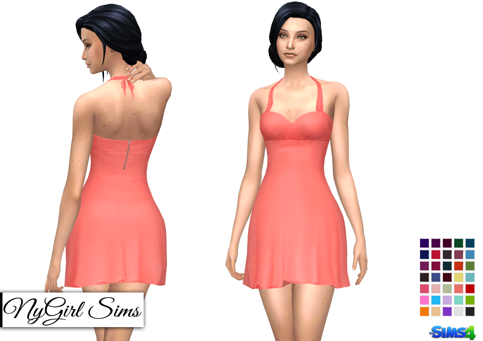 NyGirl Sims 4: Flared Halter Cocktail Dress
