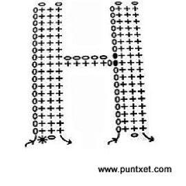 Patrón de letra H de ganchillo