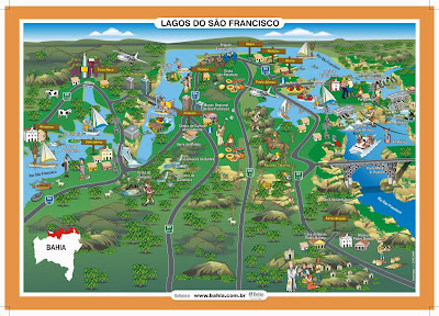 Mapa turístico da região dos Lagos do São Francisco