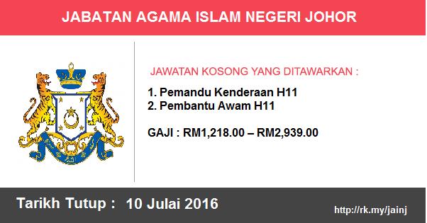 Jawatan Kosong di Jabatan Agama Islam Negeri Johor