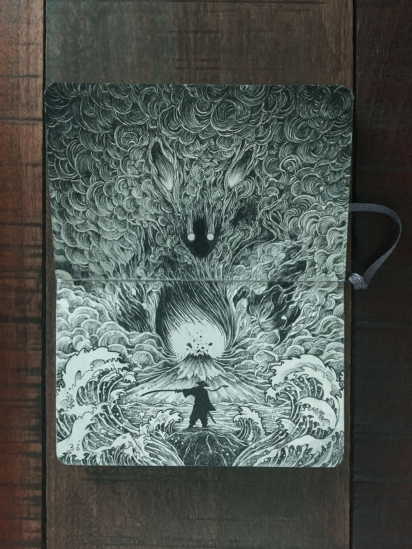 11-Power-and-Strength-Kerby-Rosanes-Detailed-Moleskine-Doodles-with-many-Whales-www-designstack-co