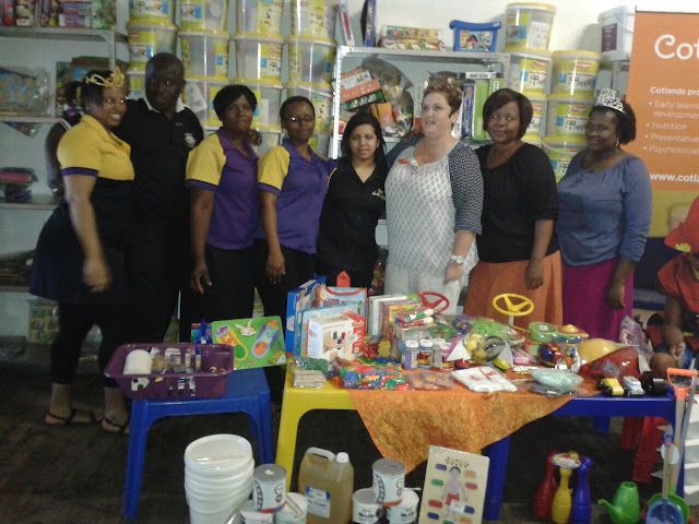 The Hollywoodbets Quigney team with the staff from Cotlands - Donations - Social Responsibility