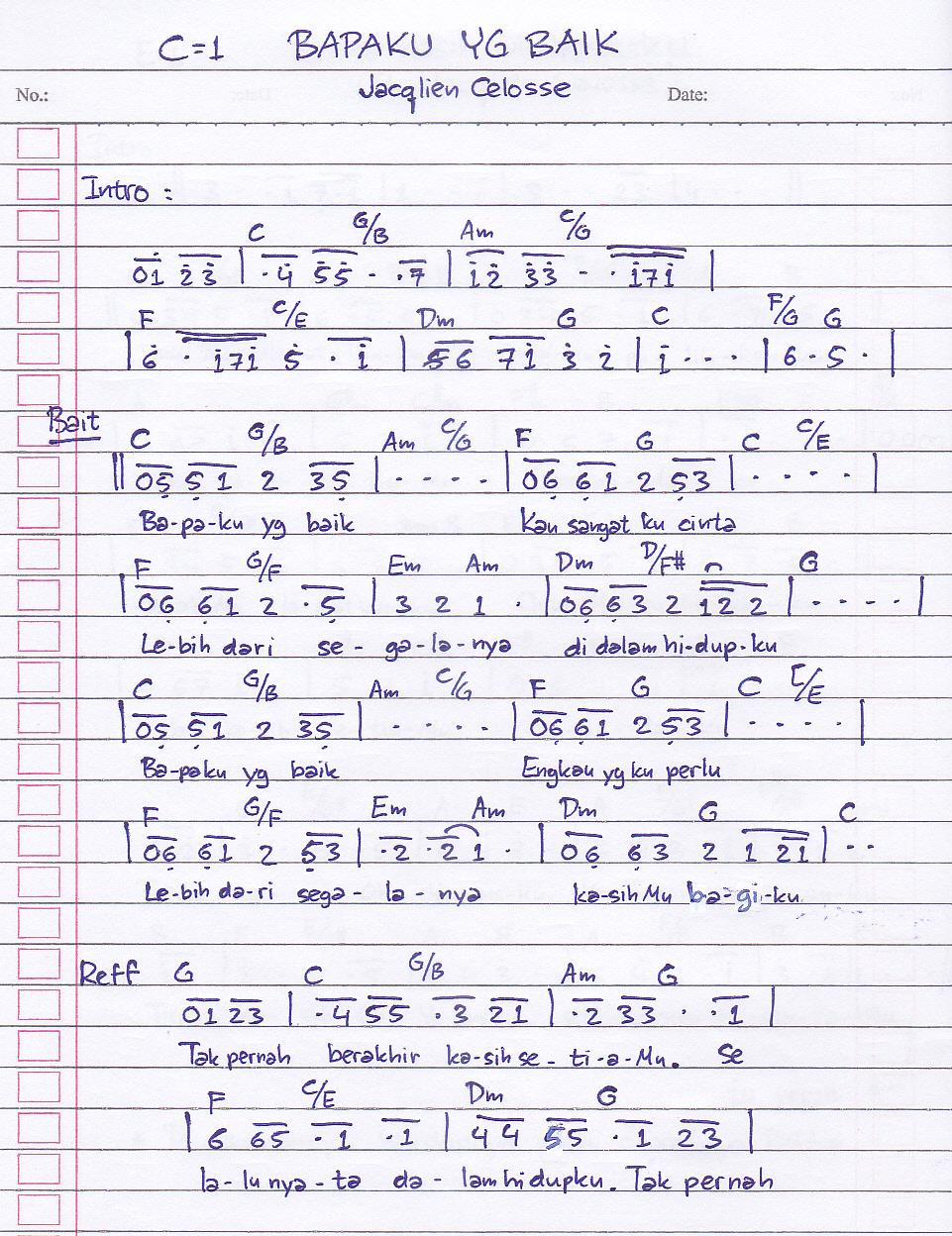 Lirik Lagu Bapaku Yang Baik - Jacqlien Celosse - Worshipedia