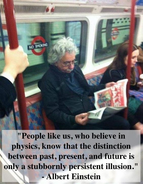 Albert Einstein on the London Underground.  Time Travel. marchmatron.com