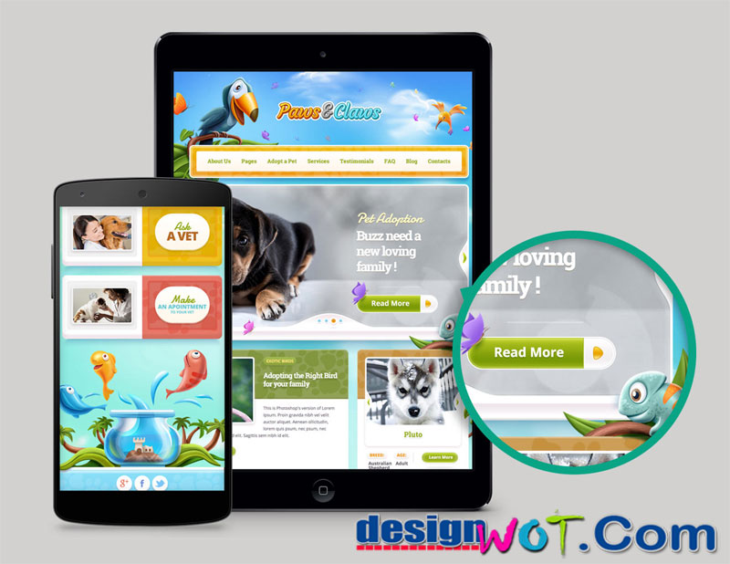 Paws and Claws - Pet WordPress Theme
