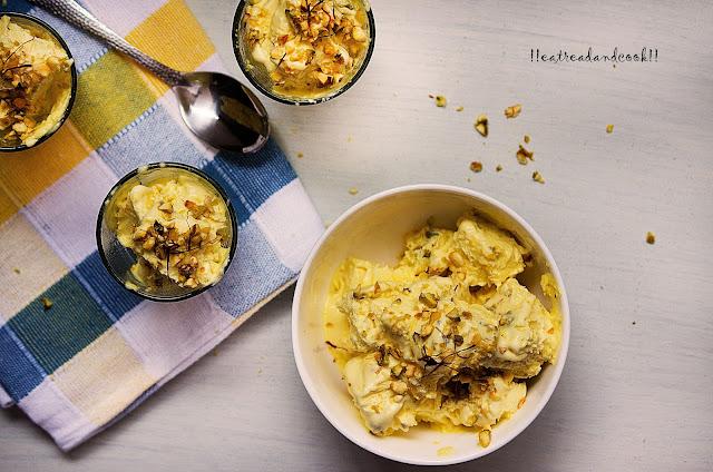 how to make no churn homemade Saffron and Pistachio Ice Cream recipe and preparation