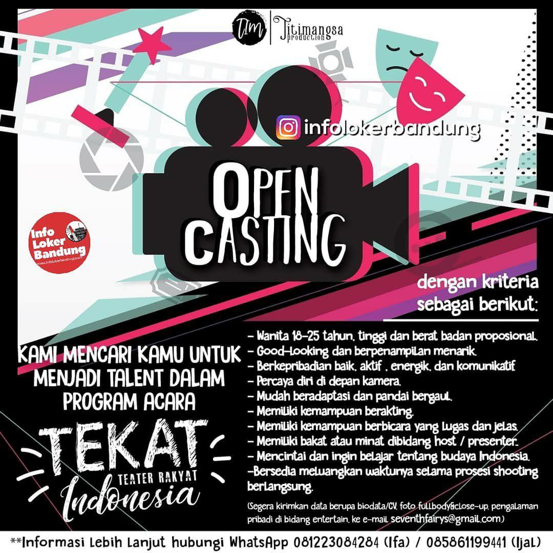 Open Casting Titimangsa Productions Bandung Februari 2019