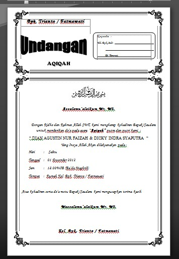 contoh undangan aqiqah sederhana template siap edit word