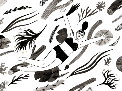 Ilustración por Monica Garwood | black and white art drawings, pictures, dibujos | imagenes chidas bellas, emociones y sentimientos | dessins