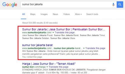 Sumurborjakarta.com Ranking Pertama Google