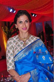 Actress Model Shilpa Reddy Exclusive Stills in Blue Saree at Vijay Karan Aashna Wedding  0047.JPG