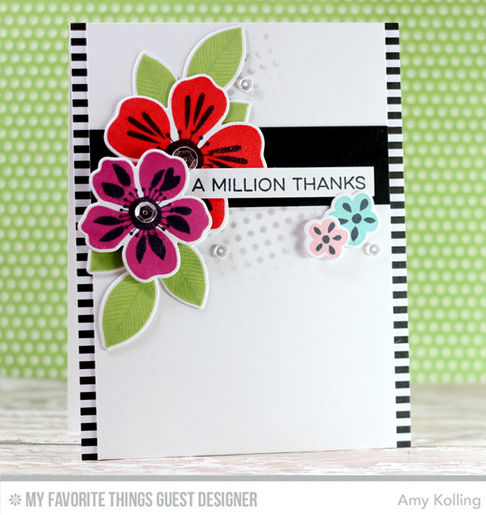 Handmade card from Amy Kolling featuring Essential Sentiments stamp set, Flashy Florals stamp set and Die-namics #mftstamps
