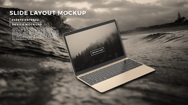 Perspective Macbook Screen Mockup PowerPoint Template with Background