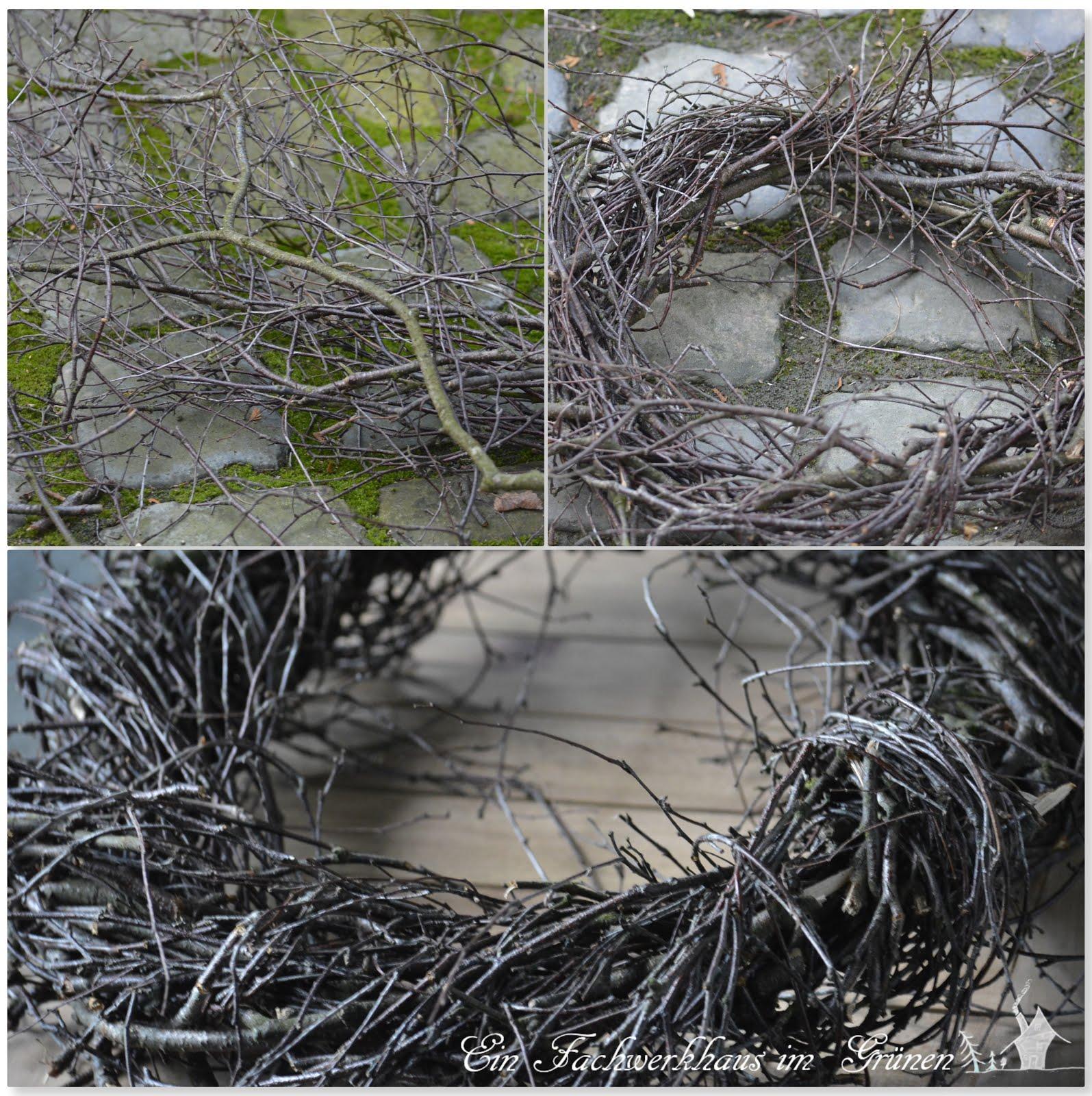Birkenzweige, Basteln mit Naturmaterialien, Kranz