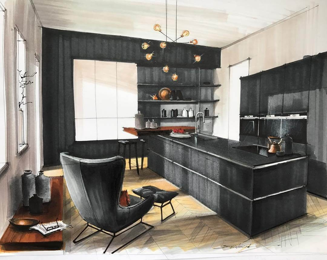 04-Black-Sophisticated-Kitchen-Sergei-Tihomirov-СЕРГЕЙ-ТИХОМИРОВ-Varied-Living-Room-Interior-Design-Sketches-www-designstack-co