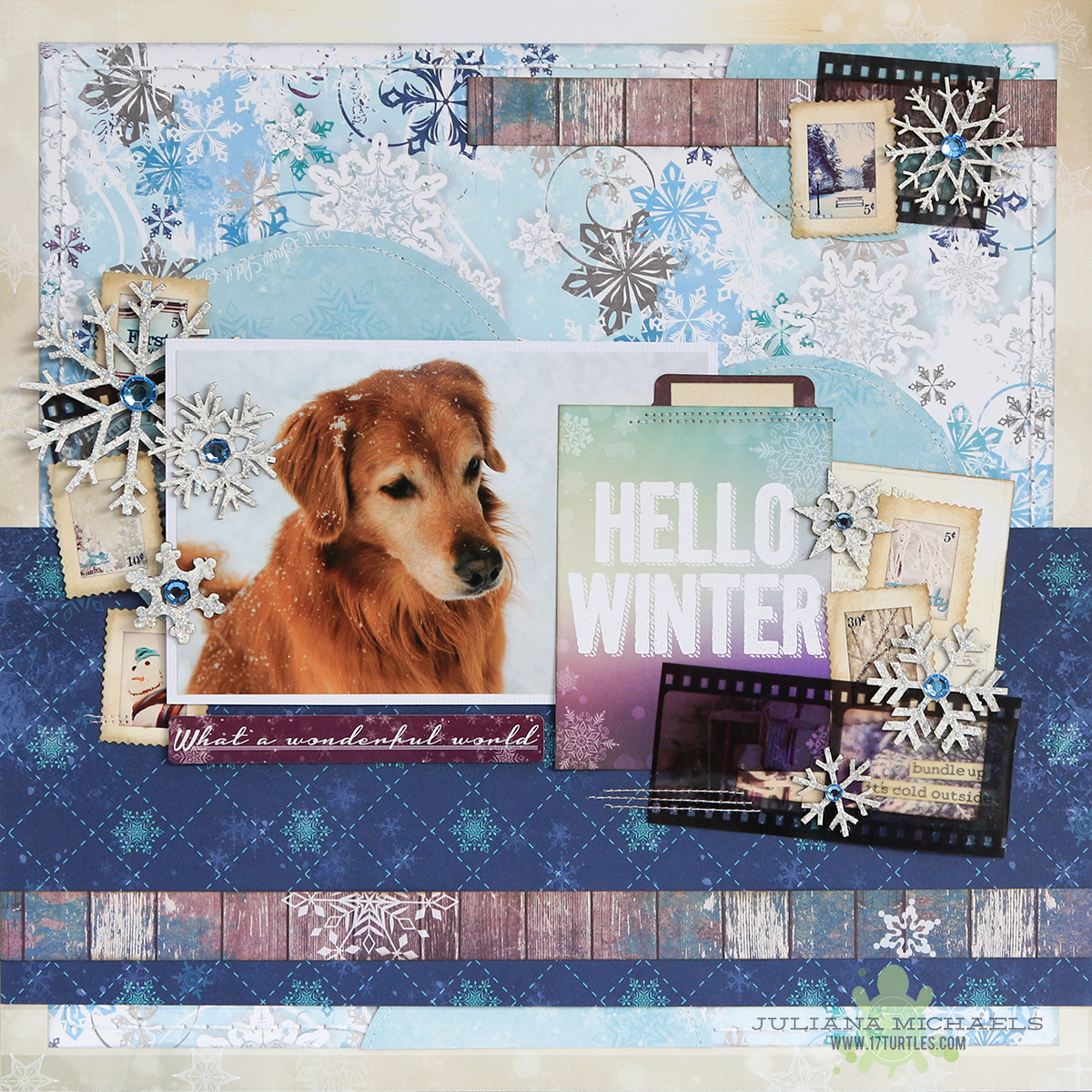 Winter Scrapbook Page by Juliana Michaels featuring BoBunny and Leaky Shed Studio Chipboard