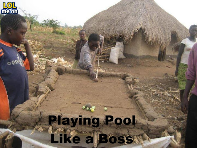 Playing Pool Like a Boss - Funny Picture With Caption
