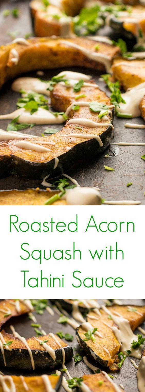 Roasted Acorn Squash with Tahini Sauce