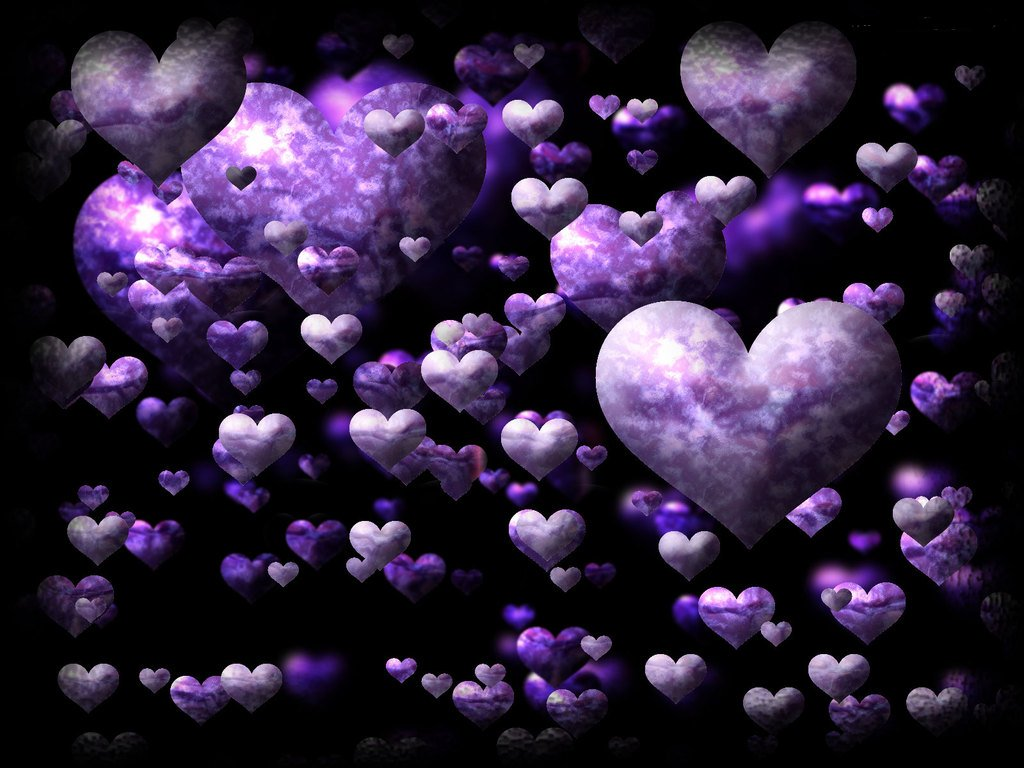 Purple And Black Hearts Wallpaper: Miracle Of Love: Love Wallpaper