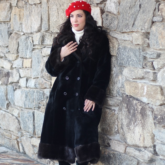 Long Black Faux Fur Coat