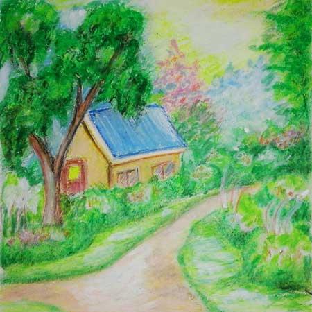 gambar pemandangan alam dengan cata crayon