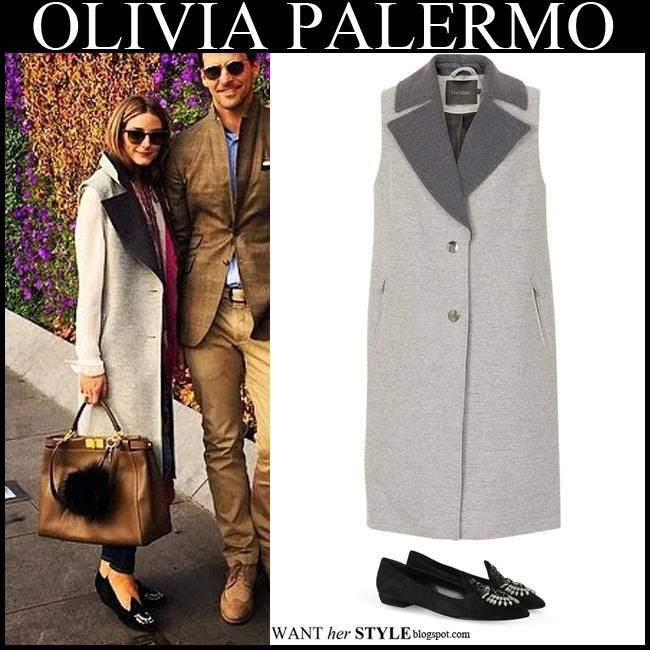 a7e0470cadf Olivia Palermo in grey sleeveless coat by Gestuz with black embellished  flats fall winter streetstyle want