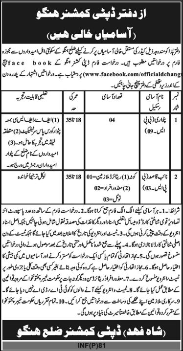 Advertisement for Deputy Commissioner Office KPK Jobs