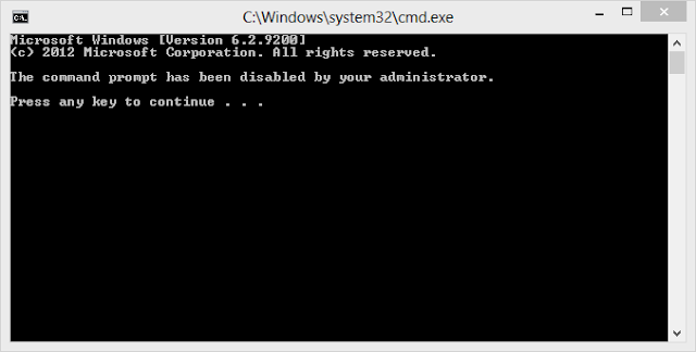 Disabled Command Prompt Window