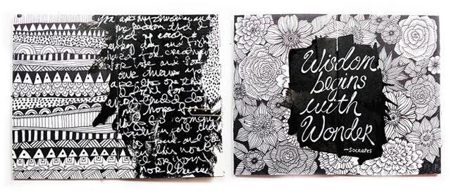 A peek inside my black and white art journal