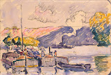 Two Barges, Boat, and Tugboat in Samois by Paul Signac - Landscape Drawings from Hermitage Museum