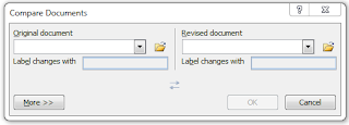 Compare document dialog box