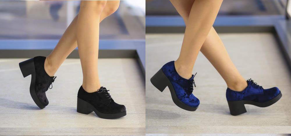 Botine negre, albastre de fete cu toc gros la moda primavara 2017