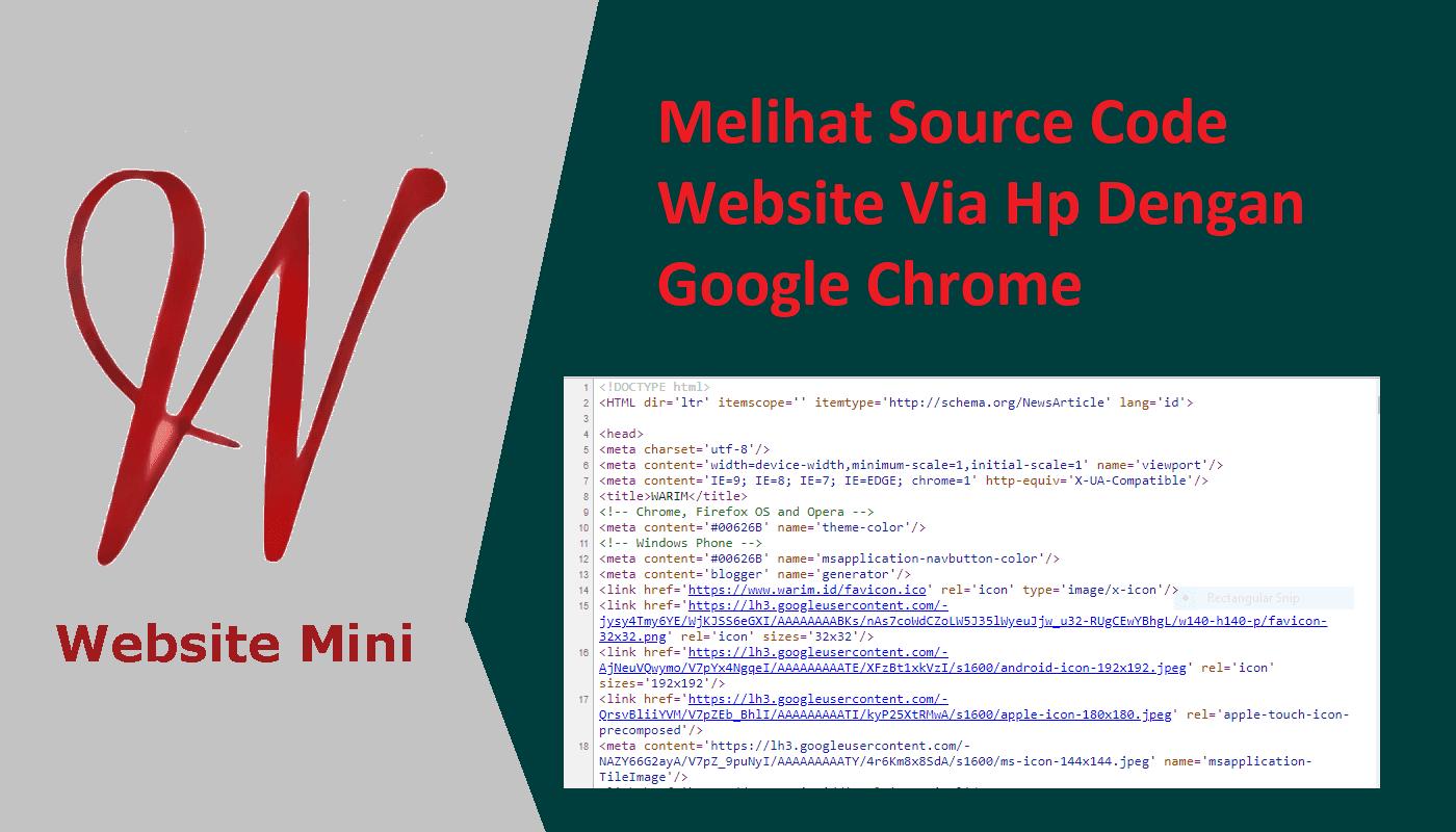 Melihat Code Sumber Website (View Source) Via Hp Menggunakan Google Chrome