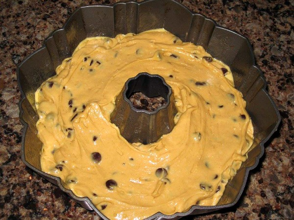 Peanut Butter Chocolate Chip Cake  before baking from Walking on Sunshine
