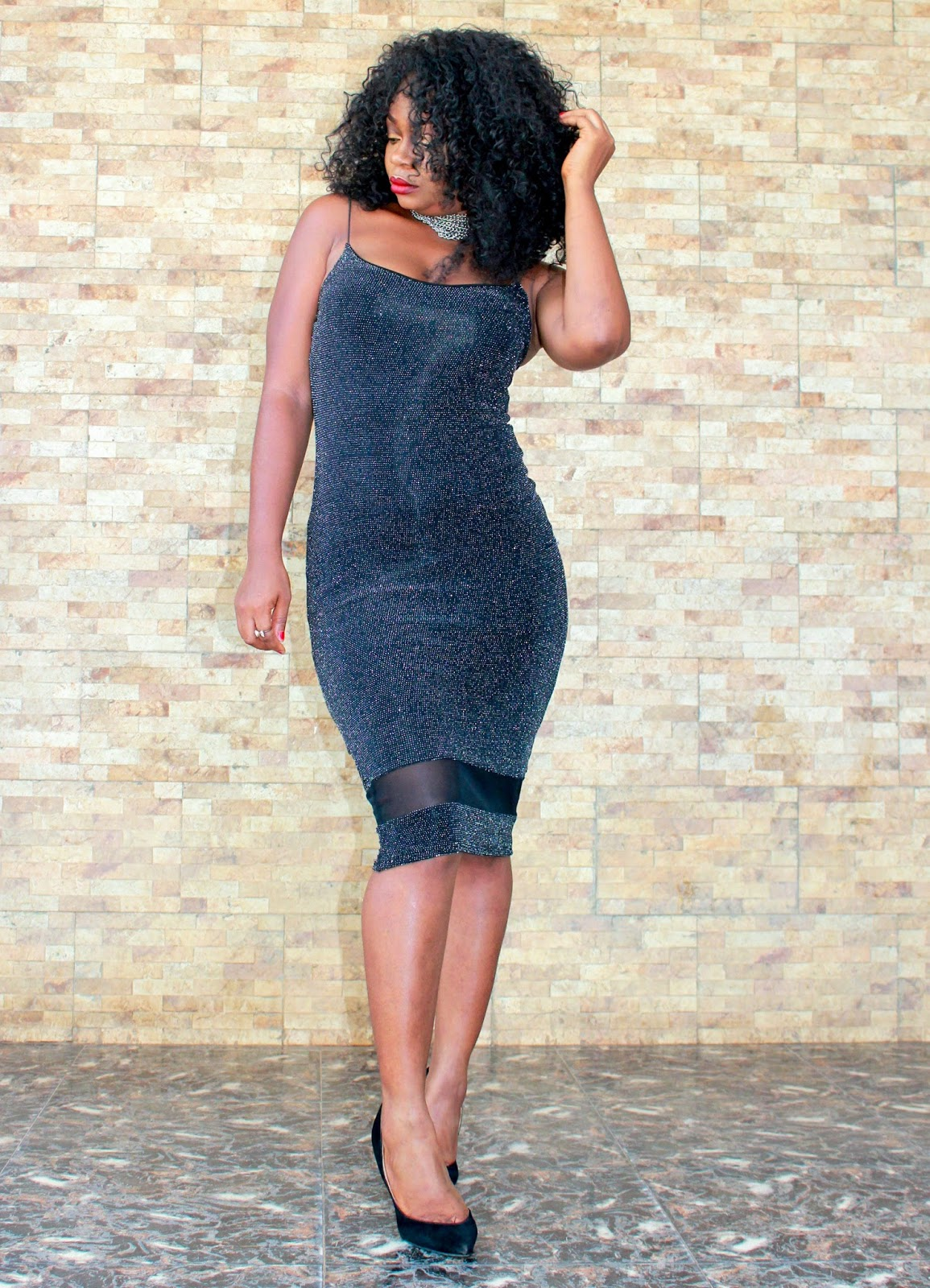 Black shimmery midi dress with mesh detail