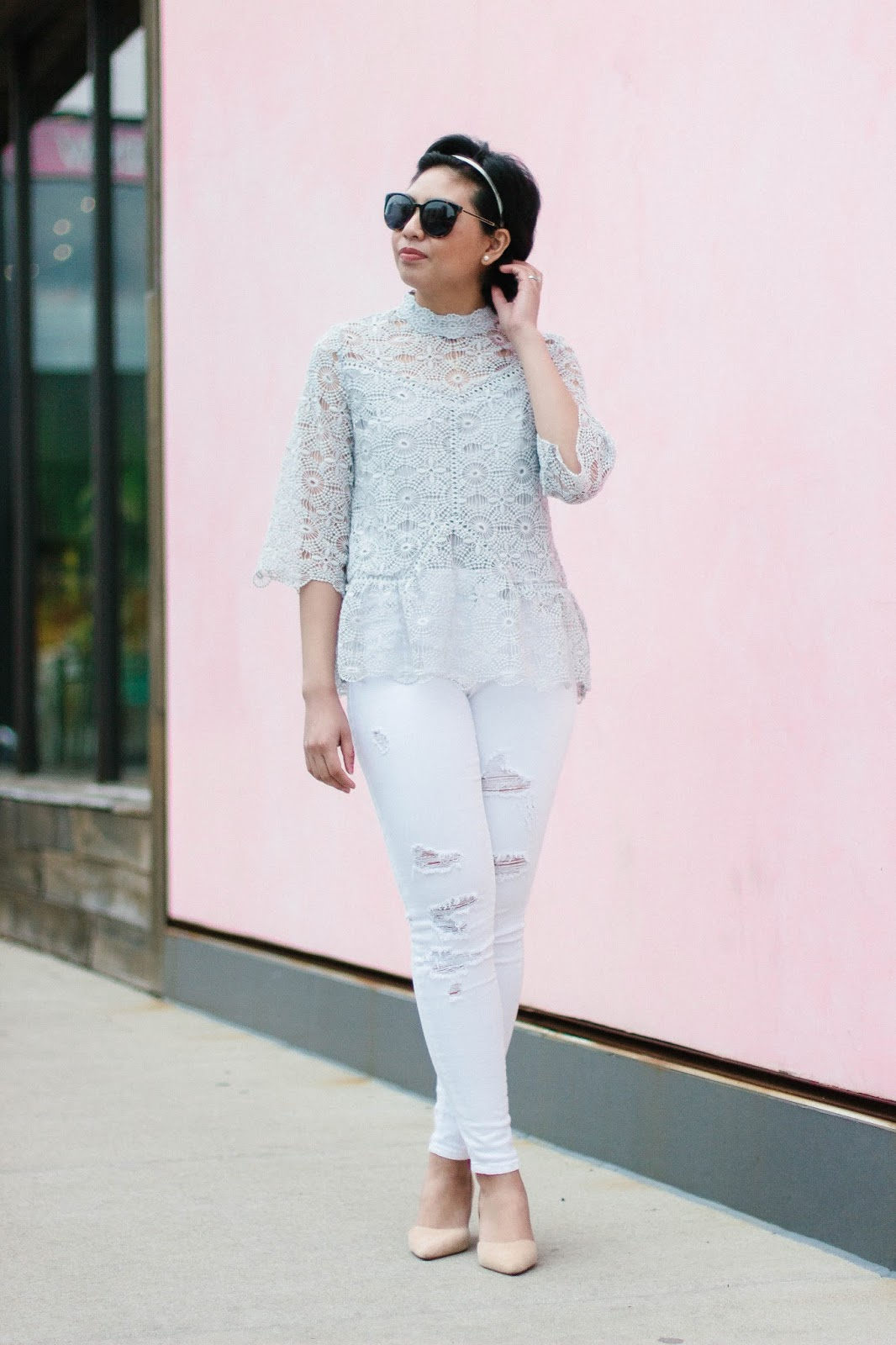 How wearing white distressed jeans and a lace top is perfect for a Spring outfit