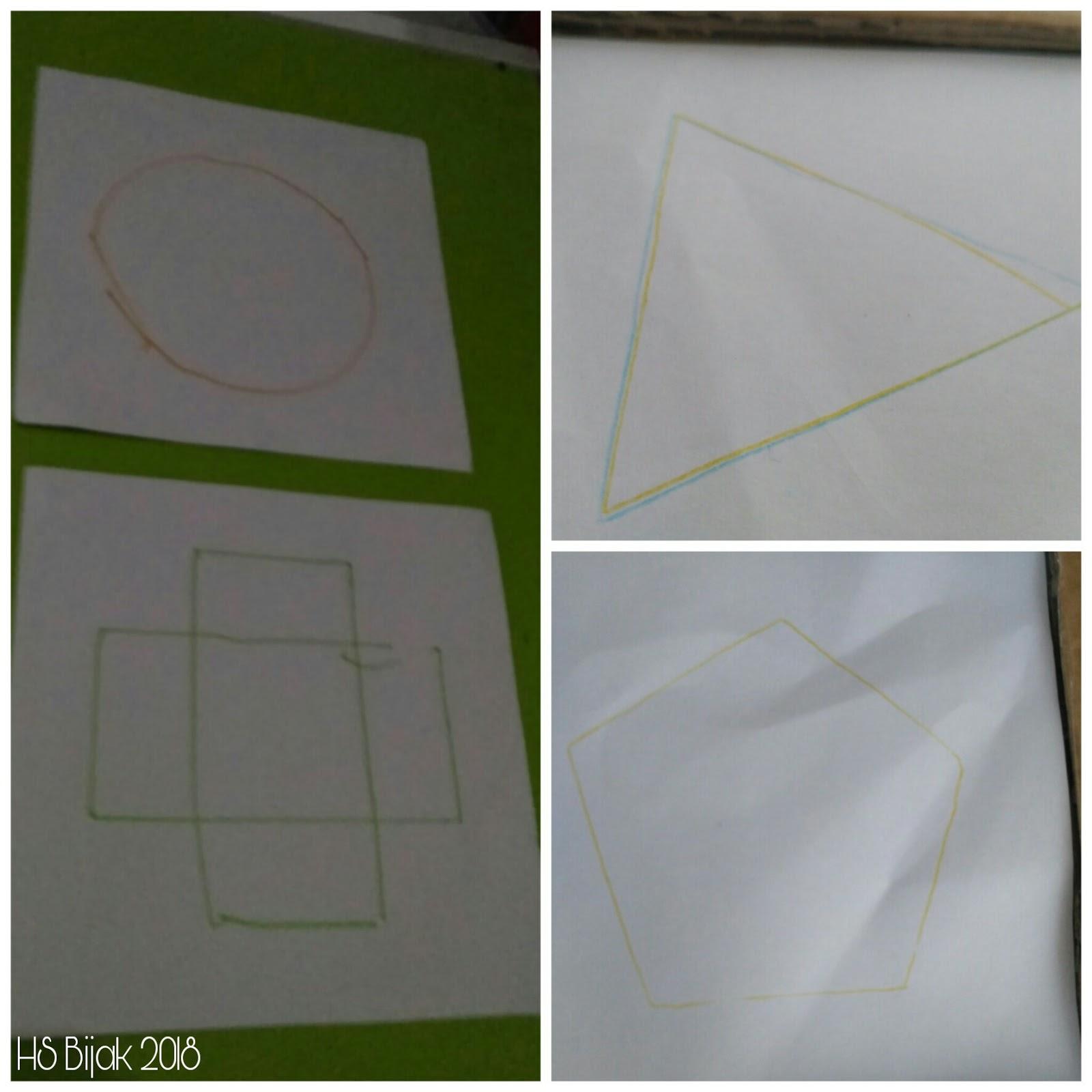 Bilal masih di tahap latihan dengan bingkai untuk bentuk yang berupa gabungan beberapa garis sudah bisa untuk lengkungan masih sulit bagi dia