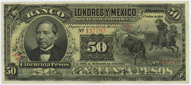 Mexican banknotes paper money 50 Pesos banknote bill Banco de Londres y Mexico