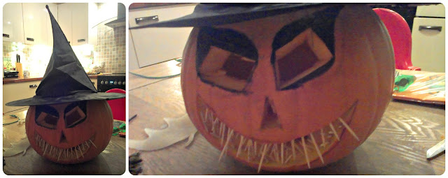 Pumpkin with toothpick mouth and witch's hat