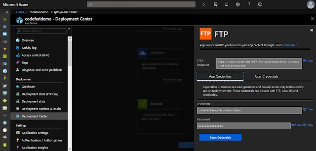 ftp setup in Web App-codefari