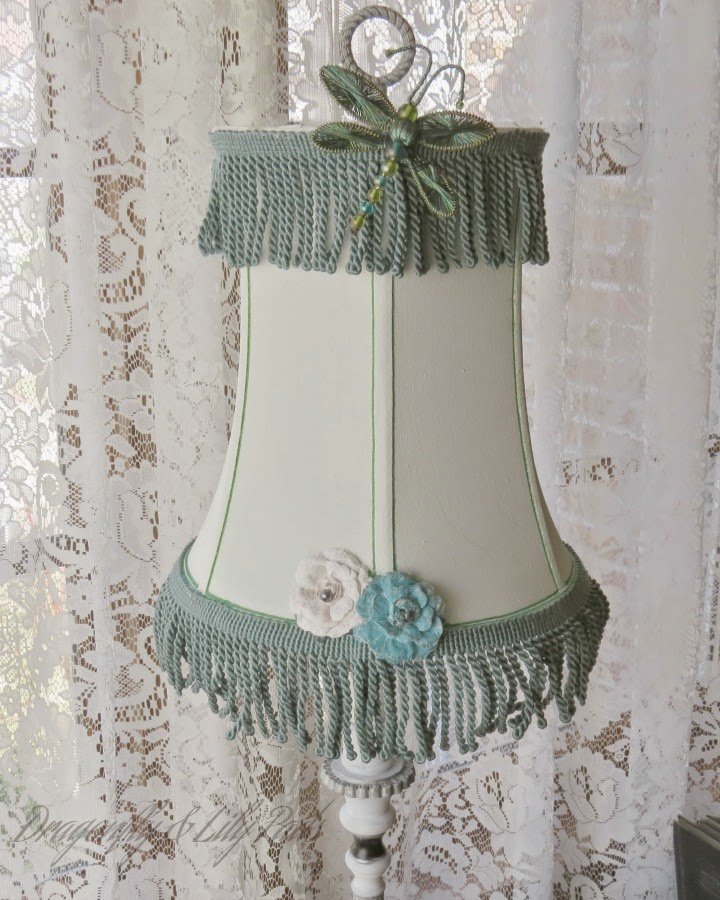 After, Lamp, Chalk paint, White, Green Stripes, Dragonfly,Blue Fringe, Flowers,