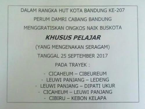 Bus DAMRI Bandung Gratis Bagi Pelajar