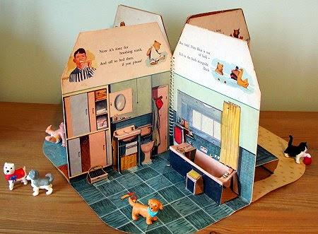 A typical 1950s bathroom with pink bath - pop-up book