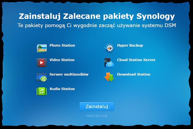 Zalecane pakiety Synology