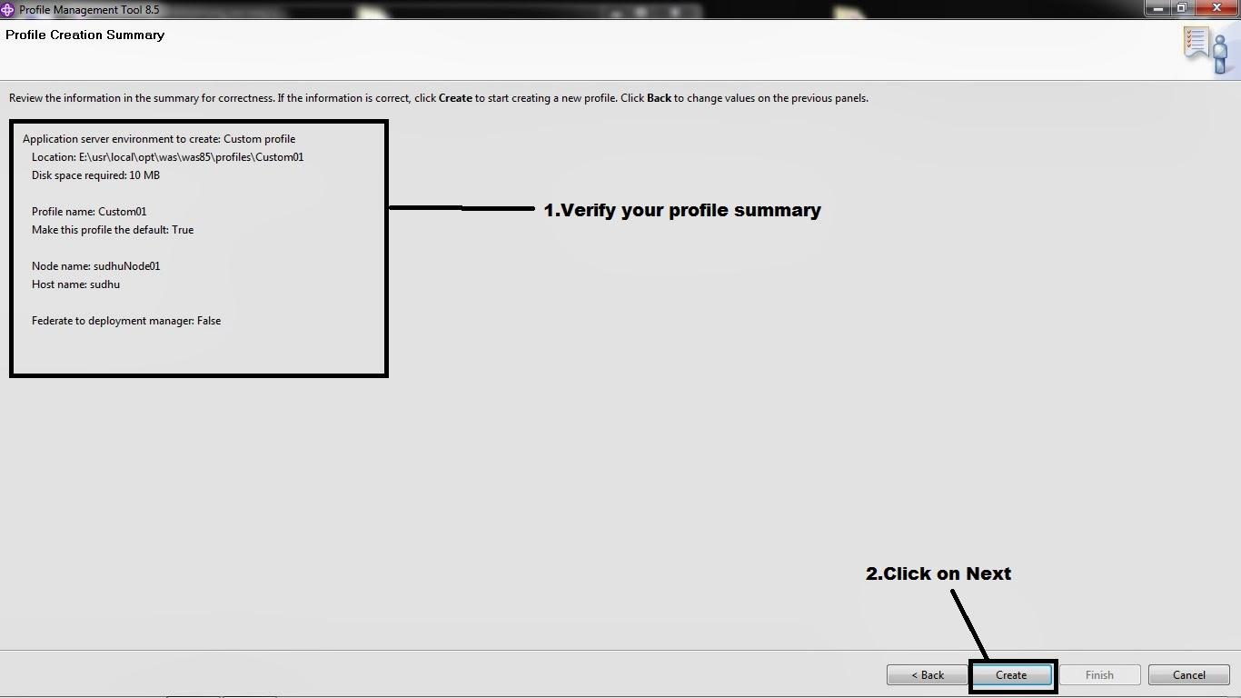 IBM WebSphere Application Server: creating custom profile