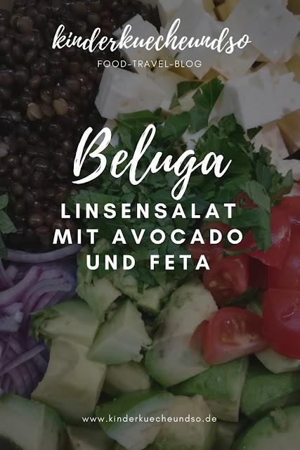 Rezept für Belugalinsensalat mit Avocado und Feta