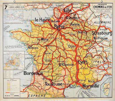 Carte Vidal-Lablache, les chemins de fer de France, après 1945, à noter la nouvelle orthographe de la ville de « Sète » (décision de son conseil municipal en 1927), ville qui sur les cartes précédente était écrite « Cette » de son ancien nom  (collection musée)