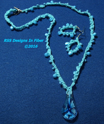 Aqua Beaded Necklace with Flower Pendant and Matching Earrings - Handmade By RSS Designs In Fiber
