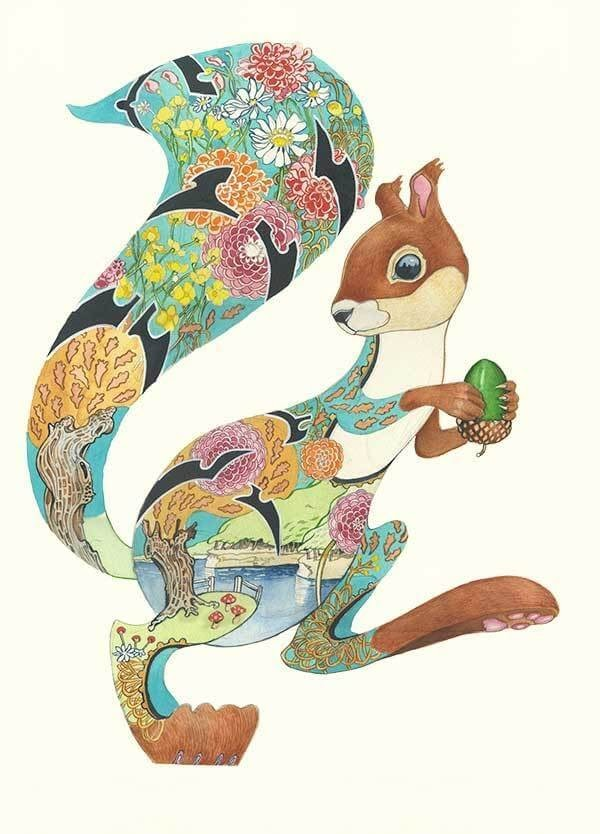 05-Turquoise-Squirrel-Daniel-Mackie-Flora-and-Fauna-Watercolour-illustrations-www-designstack-co