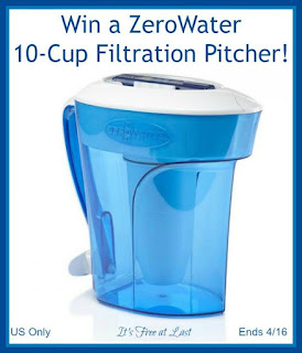 Enter the ZeroWater Filtration Pitcher Giveaway. Ends 4/16